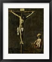 Framed Saint Luke as a Painter Before Christ on the Cross (self-portrait of Francisco de Zurbaran)