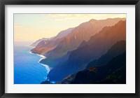 Framed Mountain range at sunrise, Na Pali Coast, Kauai, Hawaii, USA