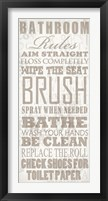 Framed Bathroom Rules (Beige on White)