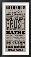 Framed Bathroom Rules (Black on Beige)