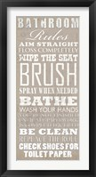 Framed Bathroom Rules (White on Beige)
