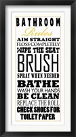 Framed Bathroom Rules (Black on White)