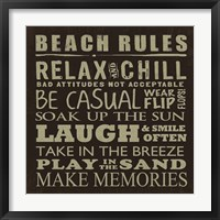 Framed Beach Rules (square)