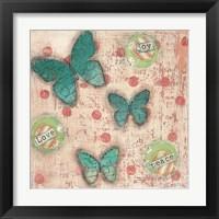 Framed Joy Love Peace Butterflies