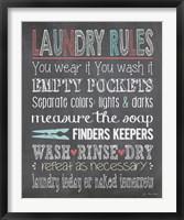 Laundry Rules Framed Print