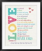 Framed Love Never Fails Color