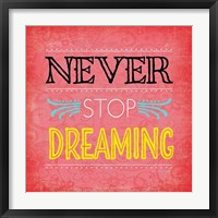 Framed Never Stop Dreaming
