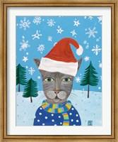 Framed Holiday Cat