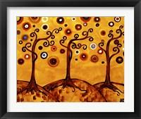 Framed Swirling Trees On Sunset