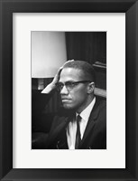 Framed Malcolm X Waits at Martin Luther King Press Conference