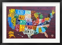 Framed License Plate Map USA IV