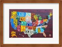 Framed License Plate Map USA IV