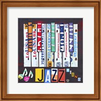 Framed License Plate Art Jazz Series Piano I