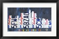 Framed Los Angeles Skyline License Plate Art