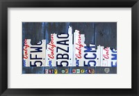 Framed Los Angeles Skyline License Plate Art