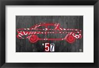Framed 57 Chevy License Plate Art