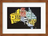 Framed Australia License Plate Map