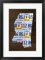 Framed Mississippi License Plate Map
