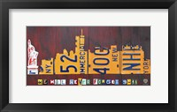 Framed NYC License Plate Art Skyline 911 Version