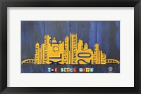 Framed Pittsburgh Skyline License Plate Art