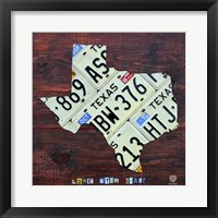 Framed Texas License Plate Map Large