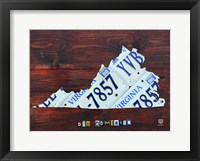Framed Virginia License Plate Map II