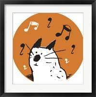 Framed Orange Music Cat