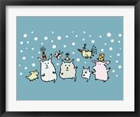 Framed Christmas Creatures Blue