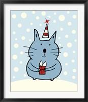 Framed Christmas Snow Cat