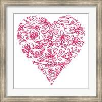 Framed Pink Flower Love Heart