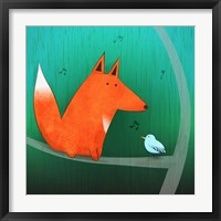 Fox In Tree Framed Print
