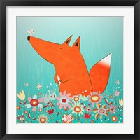 Fox In Flowers Framed Print