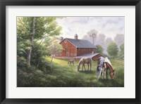 Framed Country Road W/ Horses/Barn