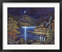 Framed Moonlit Cabin