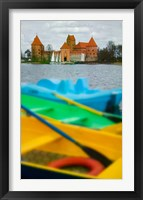 Framed Colorful Boats and Island Castle by Lake Galve, Trakai, Lithuania