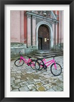 Framed Bicycles Outside a Traditional House, Vilnius, Lithuania