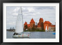 Framed Sailboat with Island Castle by Lake Galve, Trakai, Lithuania