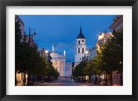 Framed Lithuania, Vilnius, Vilnius Cathedral, evening