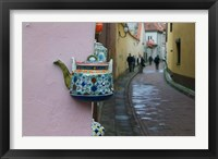 Framed Wall Decorated with Teapot and Cobbled Street in the Old Town, Vilnius, Lithuania II