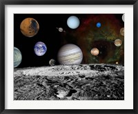 Framed Montage of the planets and Jupiter's Moons