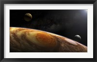 Framed Jupiter's Moons Lo and Europa hover over the Great Red Spot on Jupiter