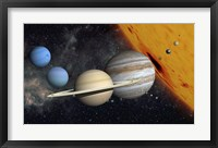Framed Planets and Larger Moons to scale with the Sun