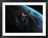 Framed Asteroid in Front of the Earth III