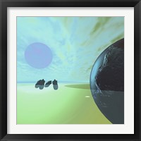 Framed Rocky Asteroids Caught in the Ring System Surrounding a Planet