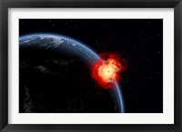 Framed Explosion on Earth's surface from a colliding Asteroid Impact
