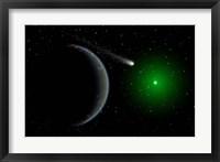 Framed Comet passing a distant Alien World
