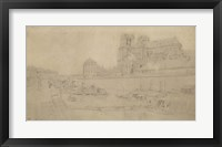 Framed Notre-Dame View Of The Docks In The South, 19th Century