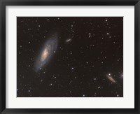 Framed Messier 106 spiral galaxy in the Constellation Canes Venatici