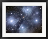 Framed Pleiades, an open cluster of stars in the Constellation Taurus