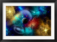 Framed Galaxy  featuring planets, galaxies and Nebulae